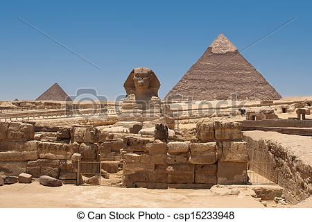 Stock Photo of A view of the Pyramid of Khafre from the Sphinx.