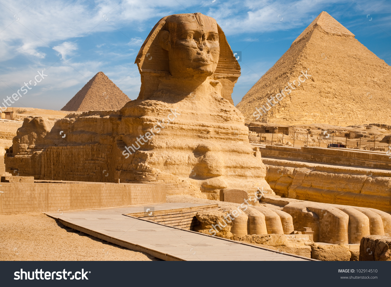 Beautiful Profile Great Sphinx Including Pyramids Stock Photo.