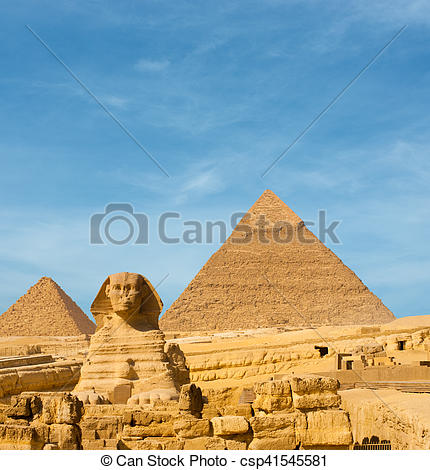 Pictures of Sphinx Front Facing Giza Egypt Pyramids Khafre.