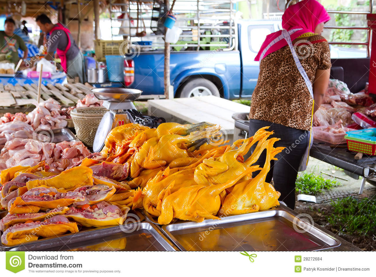 Chicken Meat On The Local Market In Khao Lak Editorial Stock Image.