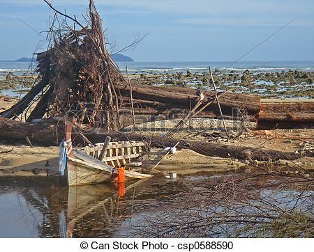 Stock Photography of Tsunami destruction.