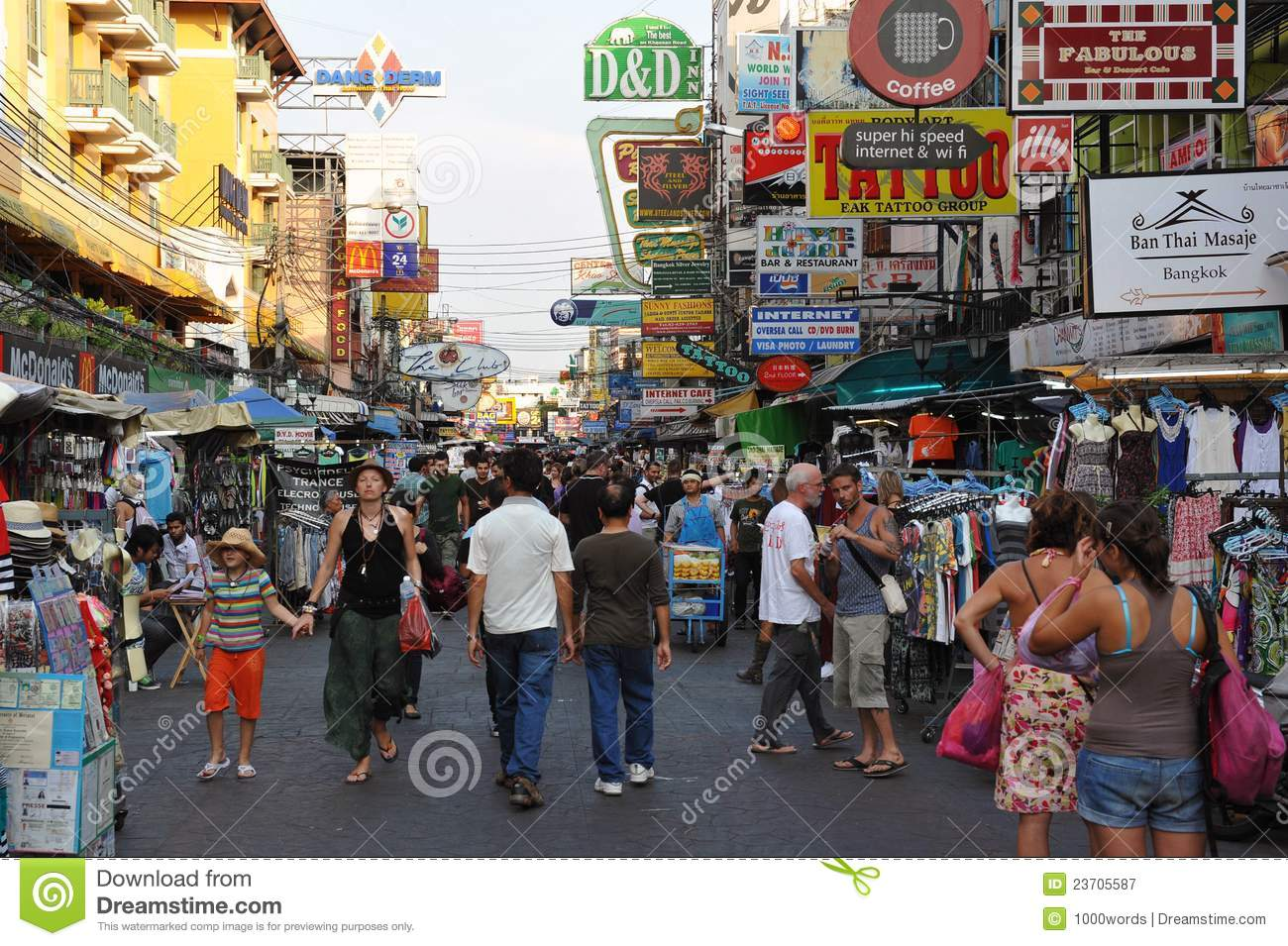 Tourists On Khao San Road In Bangkok Editorial Photography.