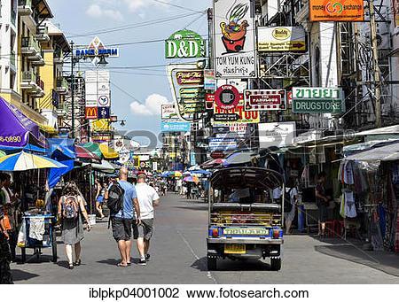 """Stock Photo of """"Khao San Road with advertising signs, Bangkok."""