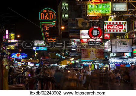 "Stock Photo of ""Advertising signs, street view at night, Khao San."