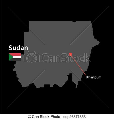 Clipart Vector of Detailed map of Sudan and capital city Khartoum.