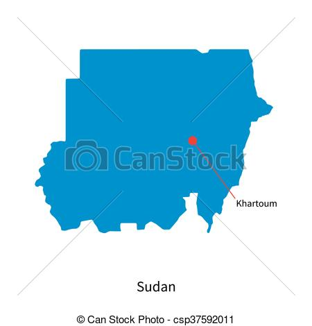 Vector Clip Art of Detailed vector map of Sudan and capital city.