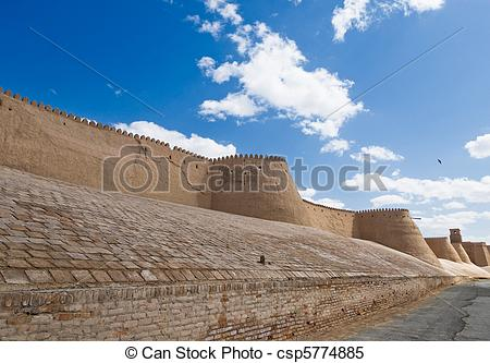 Stock Images of Walls of an ancient city of Khiva, Uzbekistan.