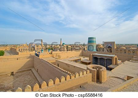 Stock Image of Panorama of an ancient city of Khiva, Uzbekistan.