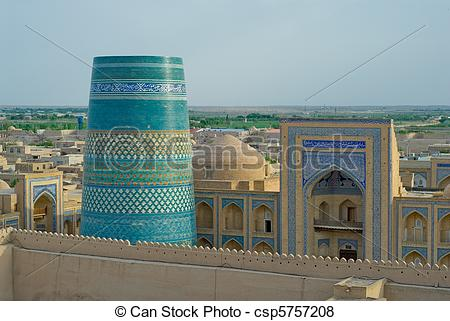 Pictures of Panorama of an ancient city of Khiva, Uzbekistan.