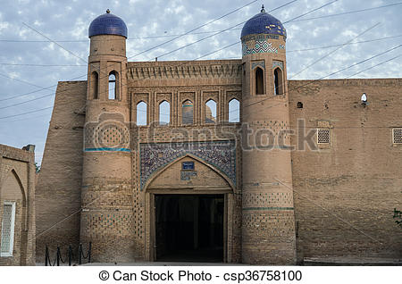 Stock Photography of West gate (Palvan Darvoza) of Khiva old city.
