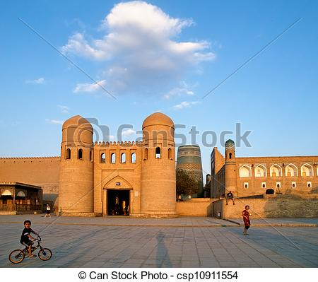 Stock Images of Khiva old town gates.