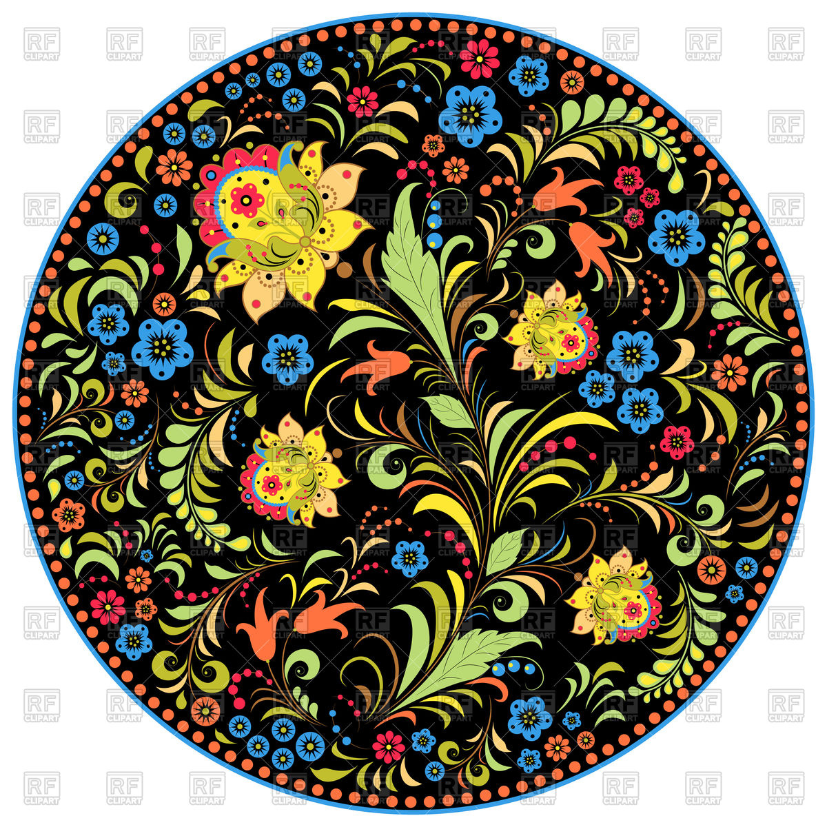 Floral traditional russian pattern Khokhloma Vector Image #110390.