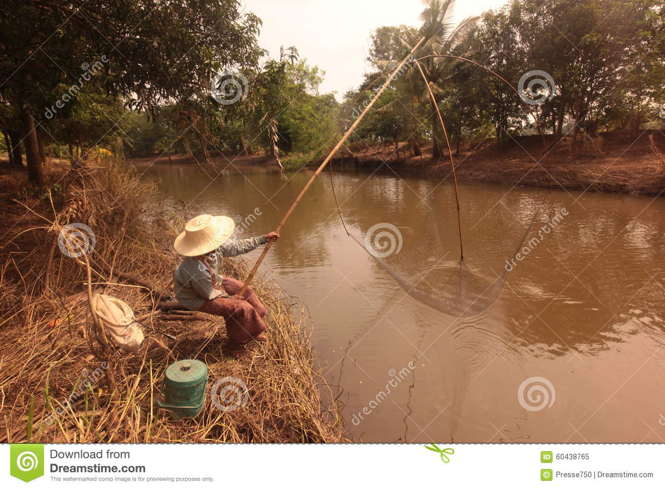ASIA THAILAND ISAN KHORAT PEOPLE FISHING Editorial Image.