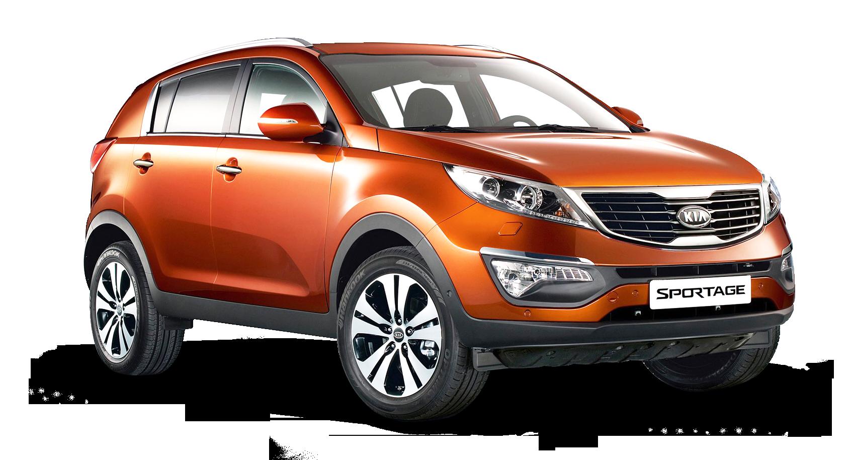 Kia Sportage 3 Orange Car PNG Image.