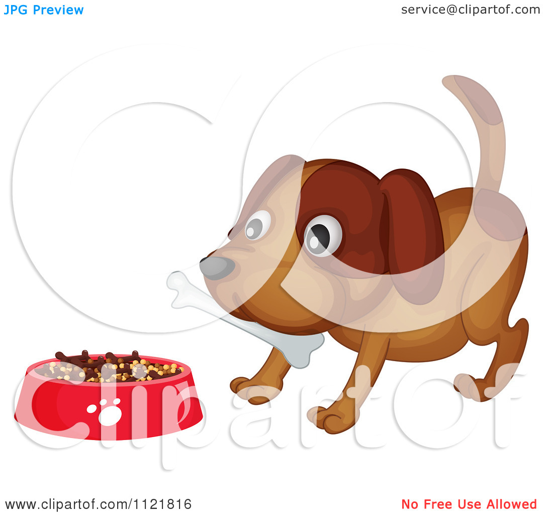 Cartoon Of A Dog With A Bone By A Bowl Of Kibble.