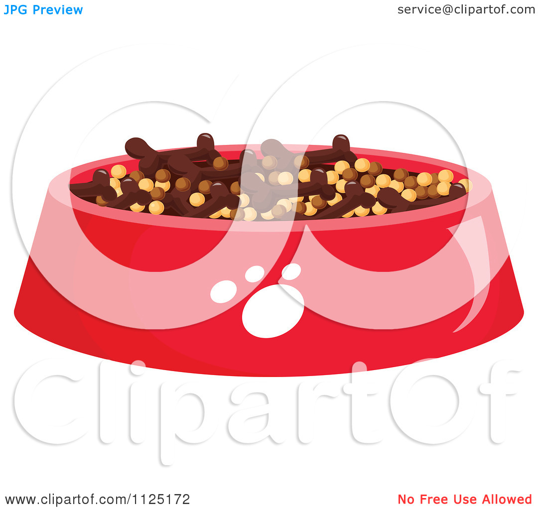 Cartoon Of A Bowl Of Dog Kibble.