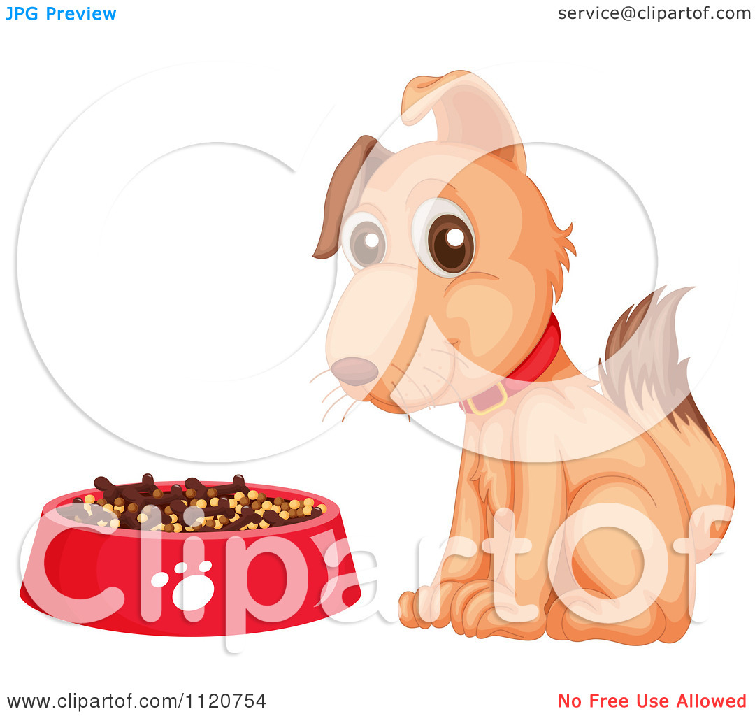 Cartoon Of A Happy Dog By A Bowl Of Kibble 2.