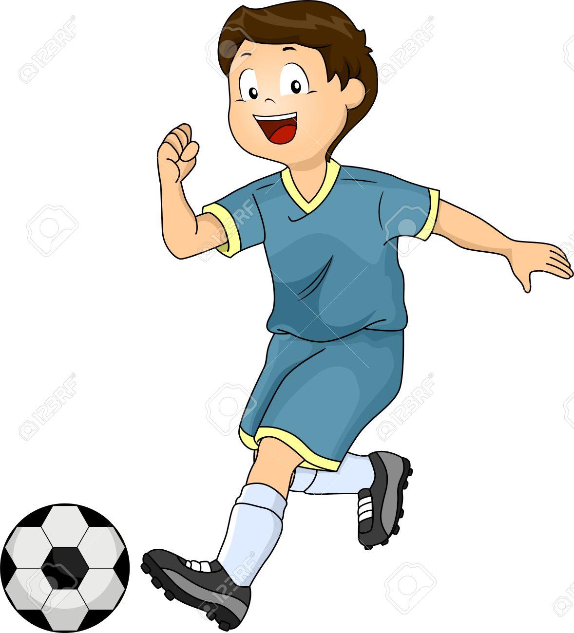 Boy Kicking Ball Clipart.