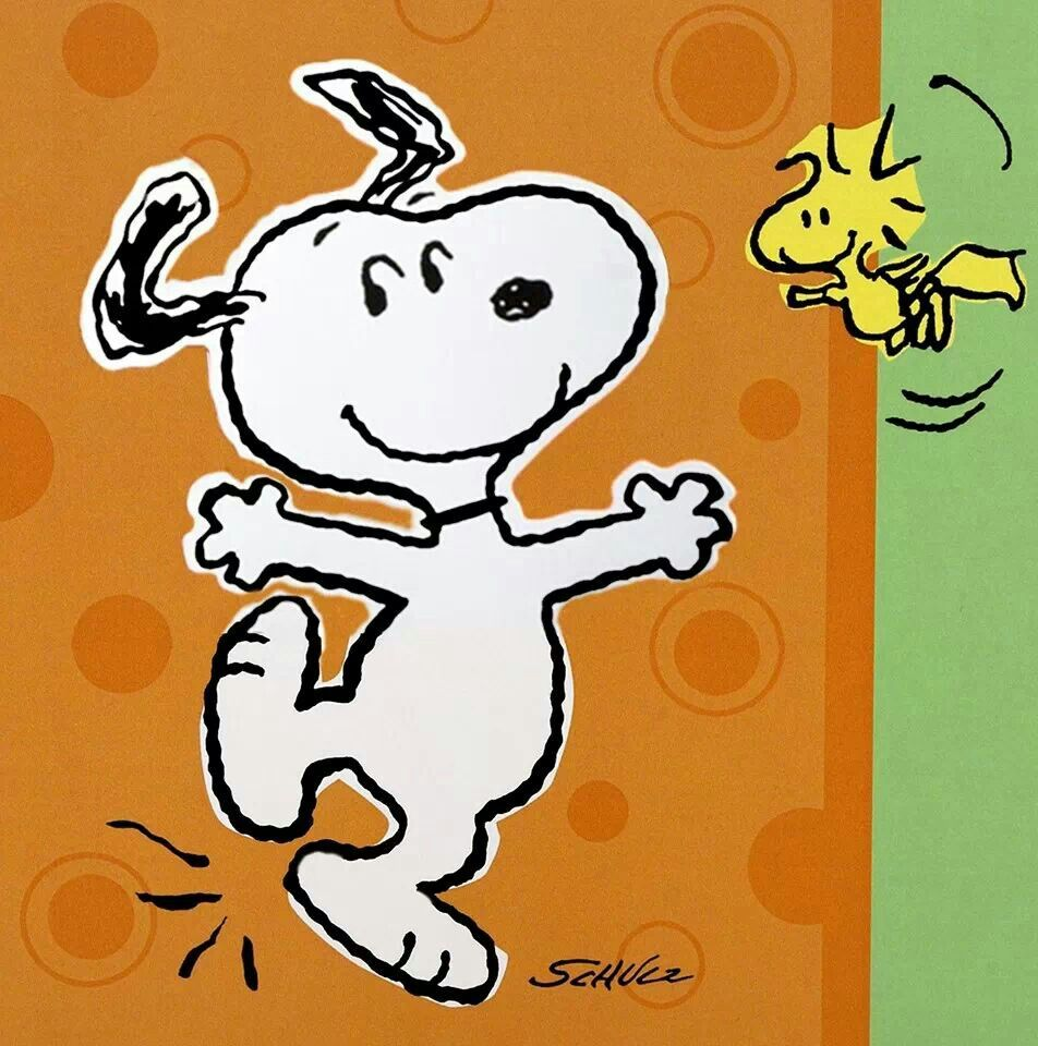 Kick up your heels with Snoopy and Woodstock.