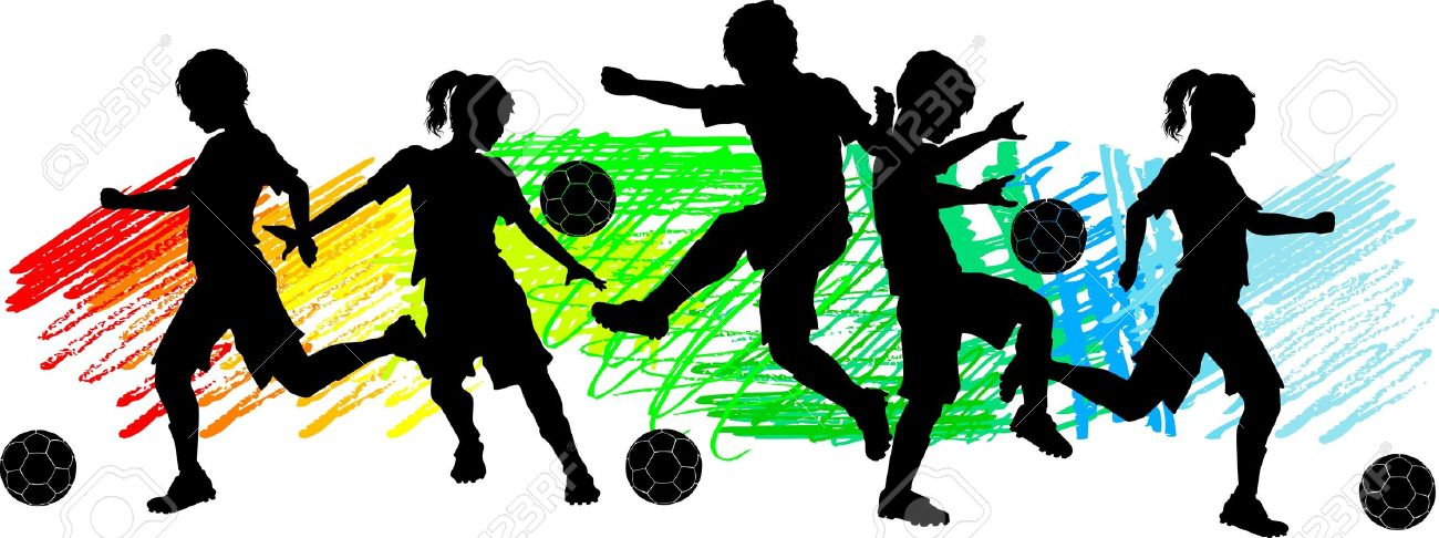 Soccer Players Silhouettes Of Children.