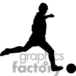 Kicking Soccer Ball Silhouette.