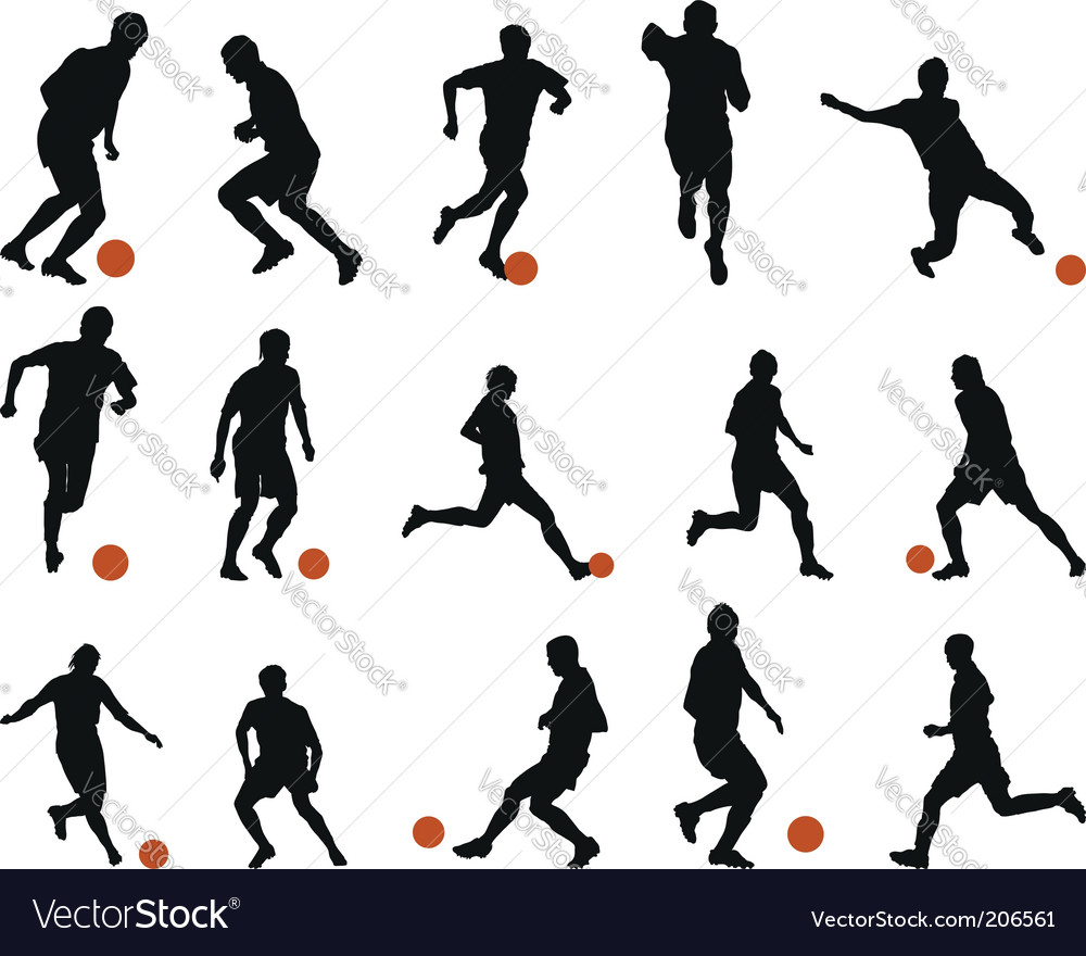 Football soccer silhouette set Royalty Free Vector Image.