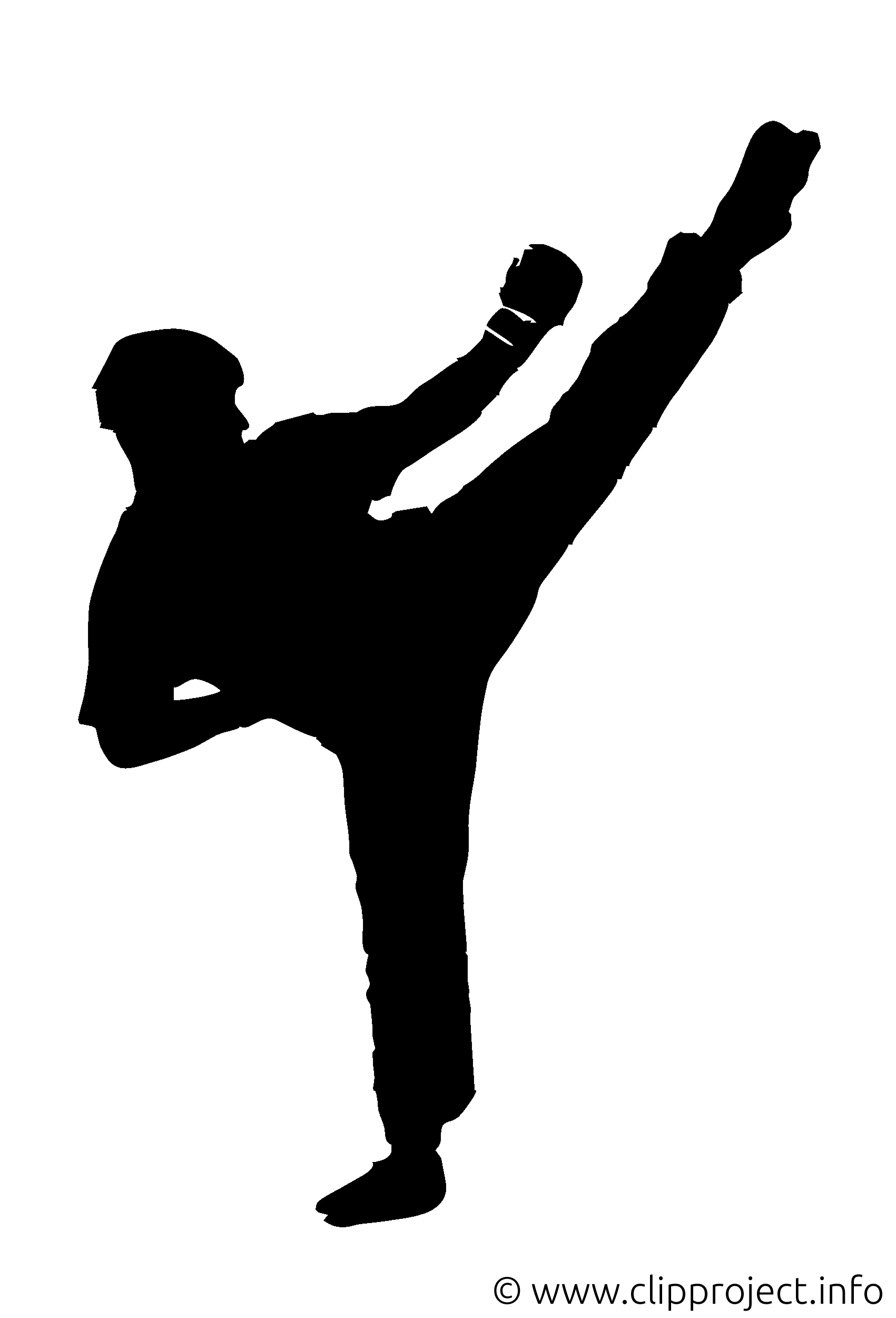 Kickboxing Clipart Silhouette.