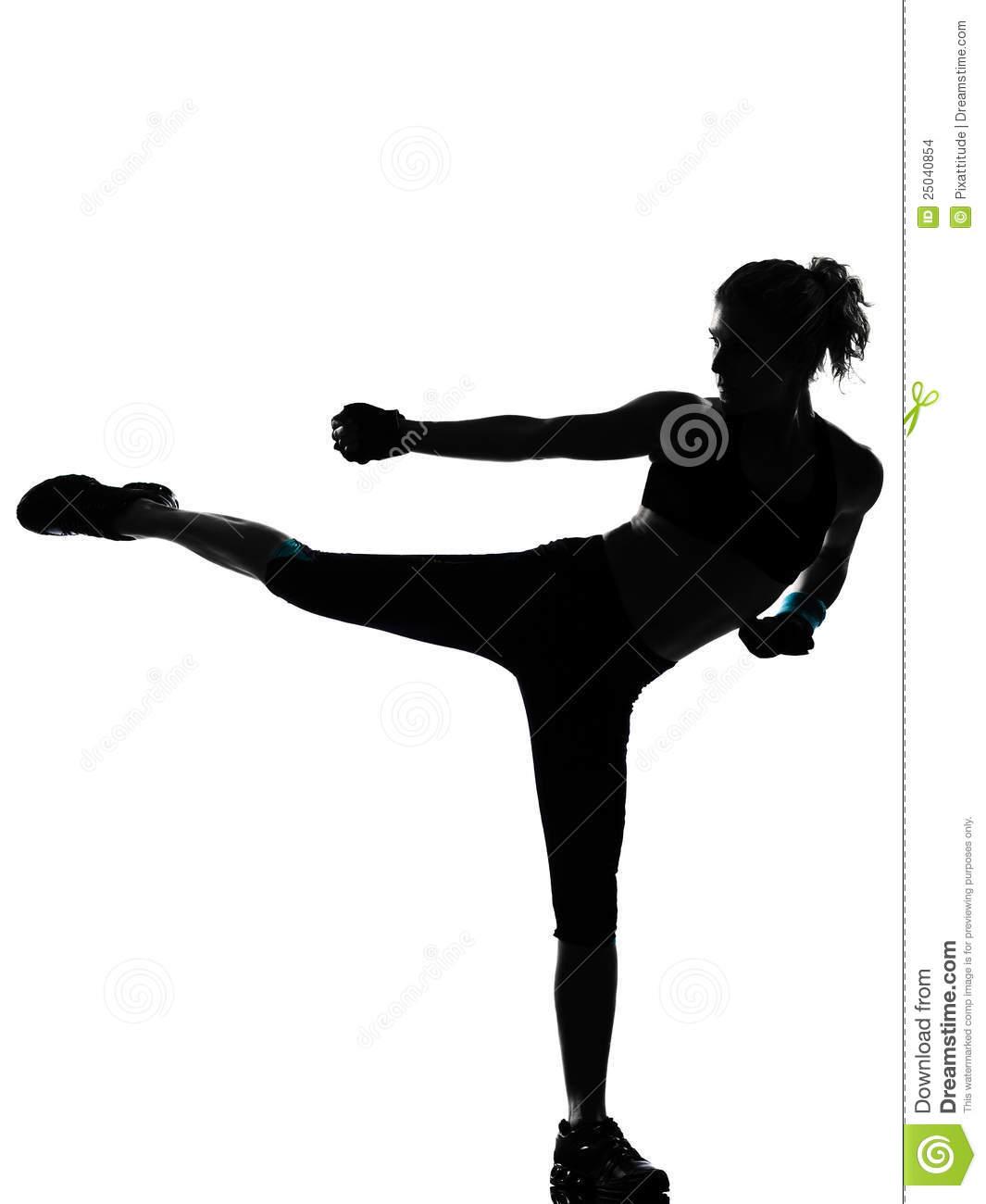 Kickboxing Woman Silhouette.