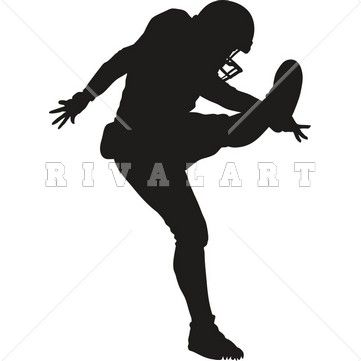 Clipart Image of a Football Kicker Graphic.