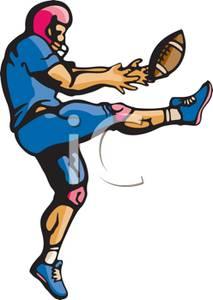 Cartoon Football Kicker Clipart.
