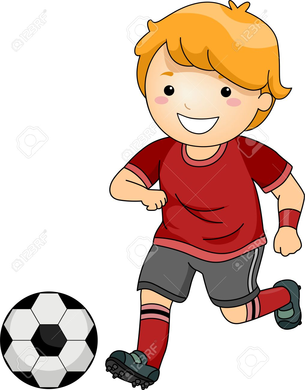 Girl Kicking Soccer Ball Clipart.