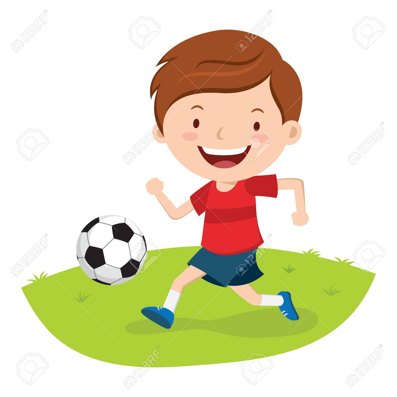 Little boy playing soccer. Boy kicking a soccer ball..