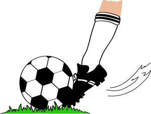 Soccer ball soccer clipart image football player kicking a football.