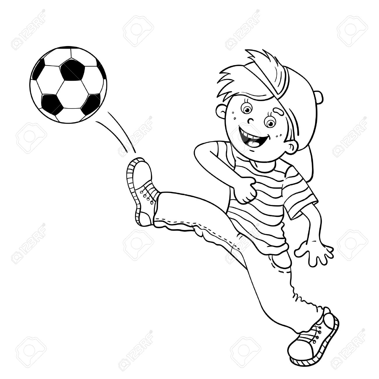 Coloring Page Outline Of A Cartoon Boy kicking a soccer ball.