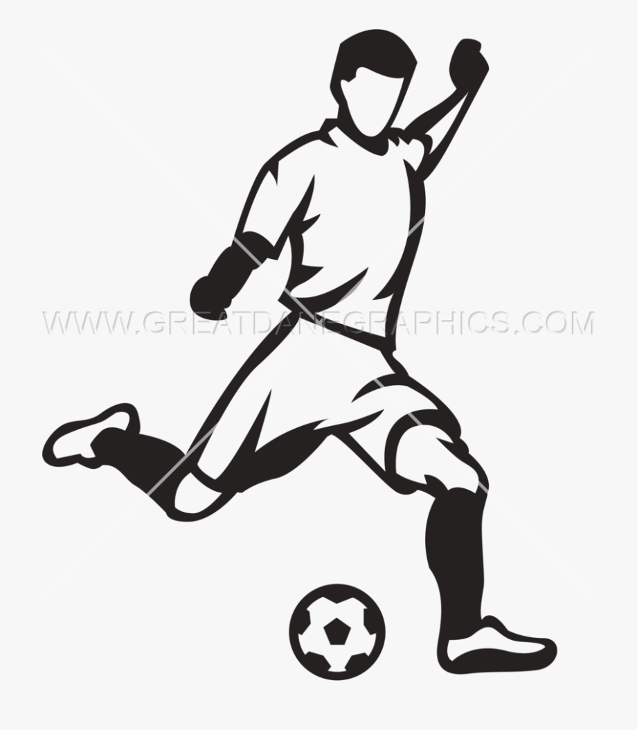 Soccer Player Kicking Ball.