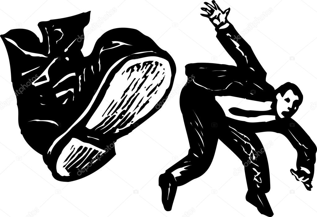 Woodcut Illustration of Man Getting Kicked by Boot — Stock Vector.