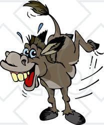 Clipart Illustration of a Stubborn Kicking Donkey ~ CartoonsOf.com.
