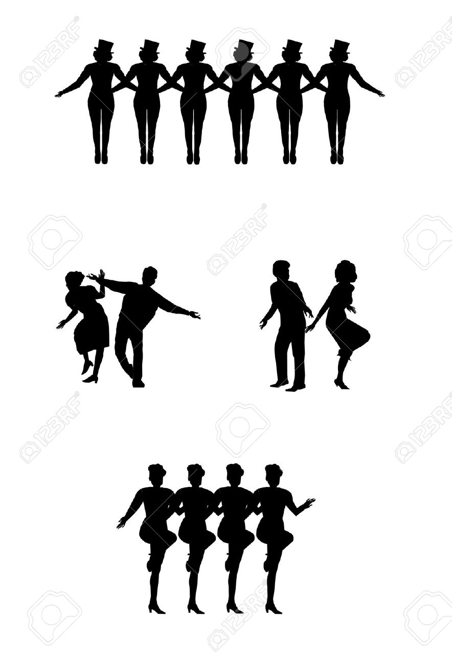Collection of Kickline clipart.