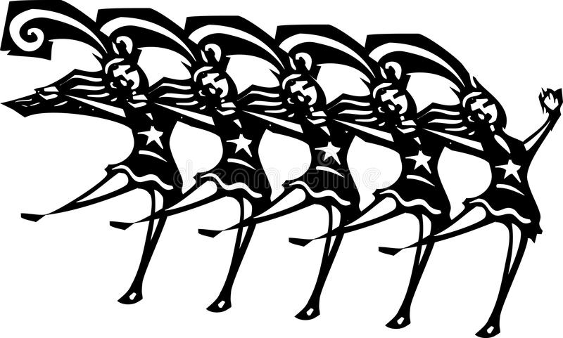 Dance Kick Line Stock Illustrations.