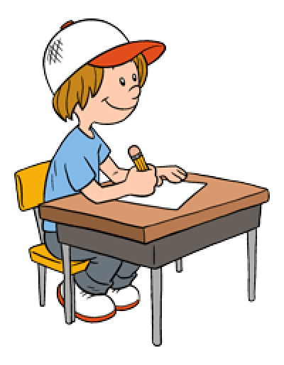 Download Free png Kid working at desk clipart.