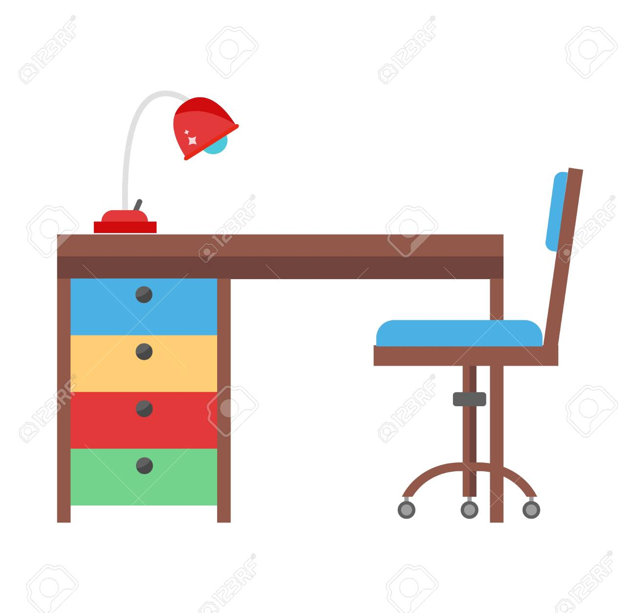 Young school kid studying home desk. Doing homework kids workplace...