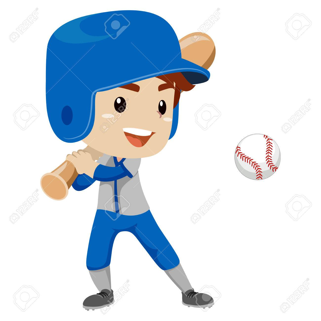 Vector Illustration of Baseball Player Kid Boy hit the Ball.