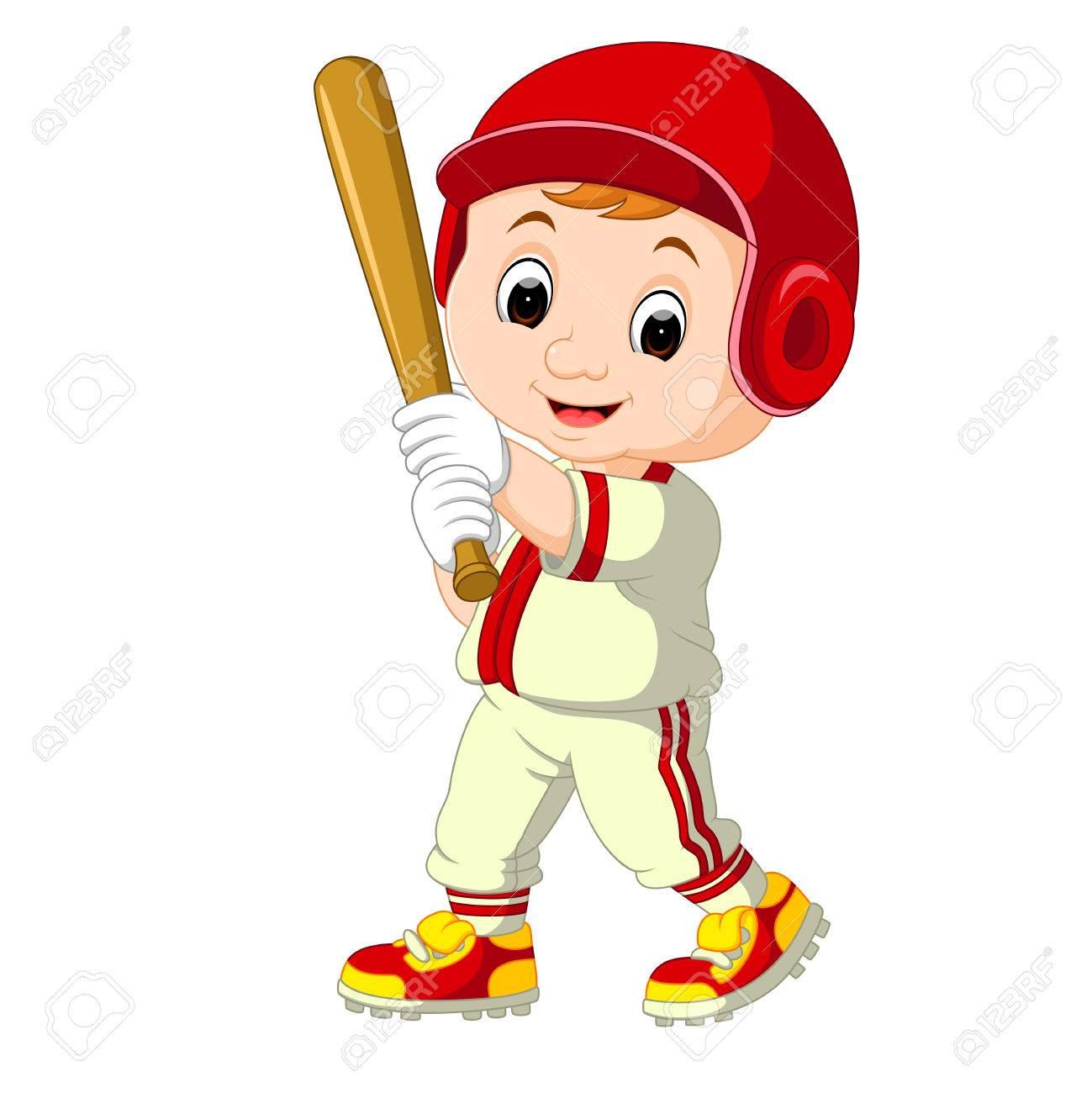 Baseball Player Kid cartoon.