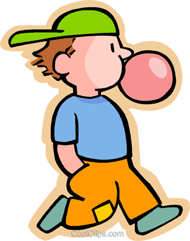 boy blowing a bubble with chewing gum Royalty Free Vector.