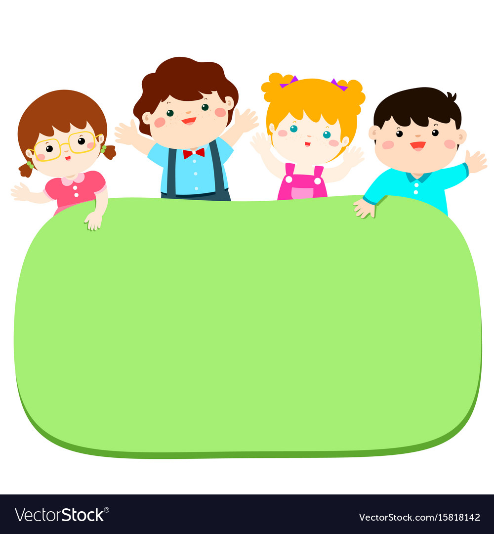 Border template with happy kids.
