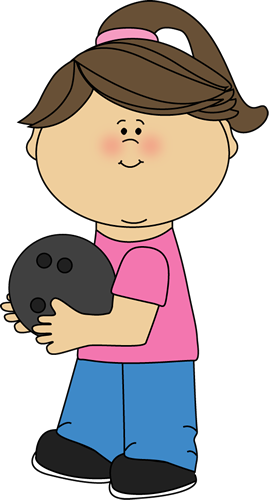 Girl with Bowling Ball Clip Art.