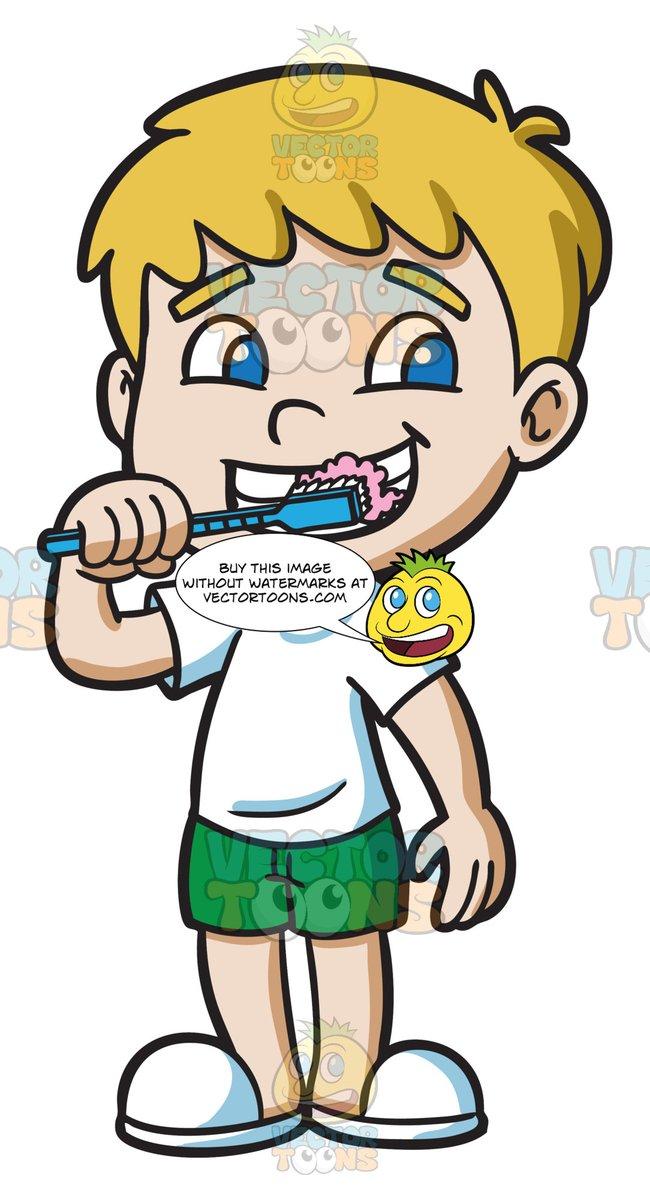 A Boy Brushing His Teeth.