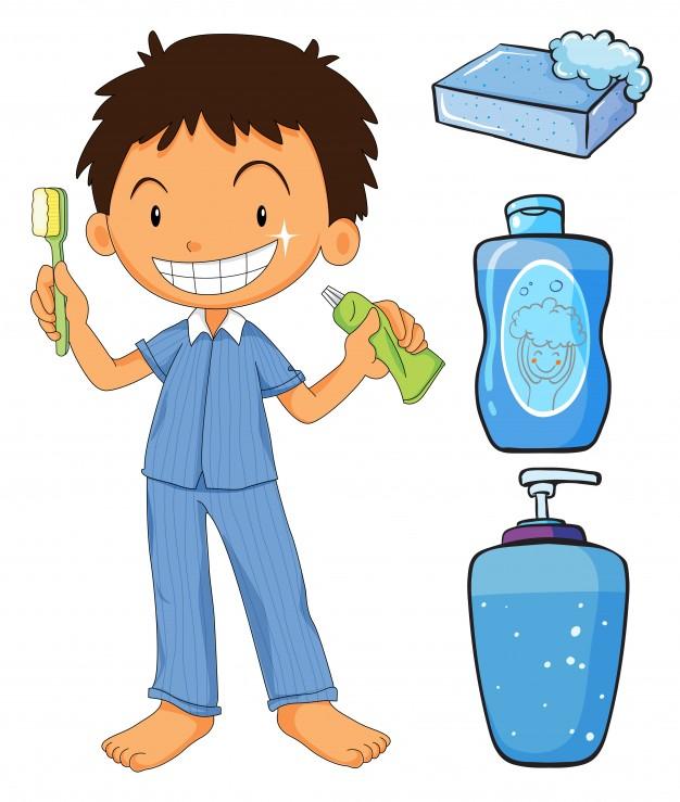 Kids Brushing Teeth Clipart.