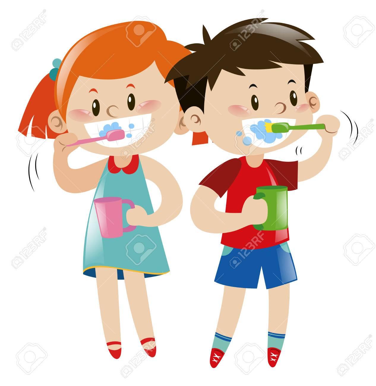 Boy and girl brushing teeth illustration.