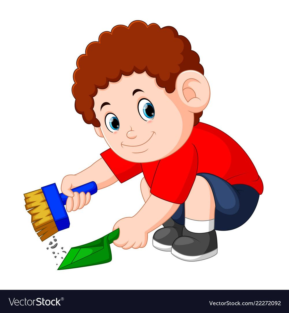 Boy with the curly hair clean up the dust Vector Image.